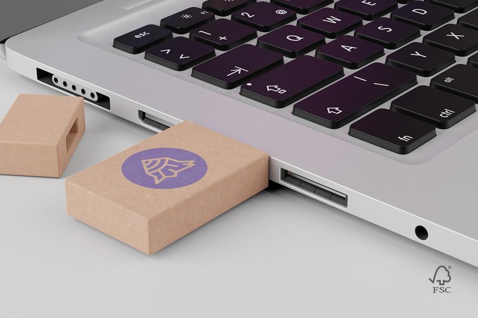 USB Key i genbrugspap med logo