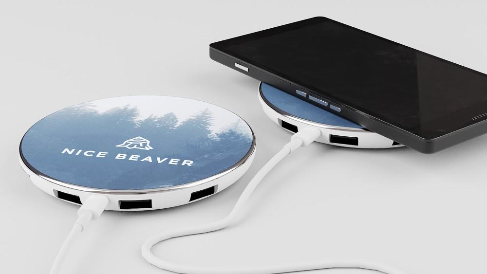Qi trådløs ladestation med USB udgange